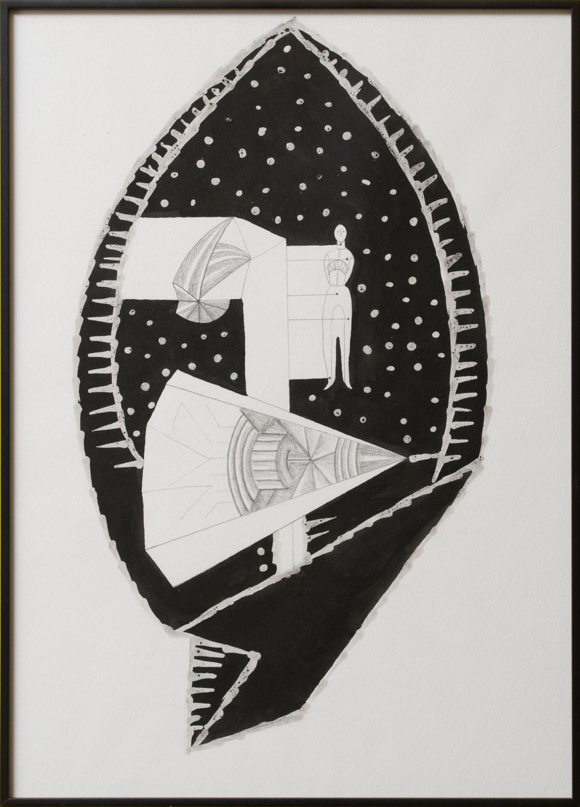 Anna Hulacova, Untitled, 2016, paper, graphite, ink, charcoal, wax 42,5 x 30,5 x 2 cm