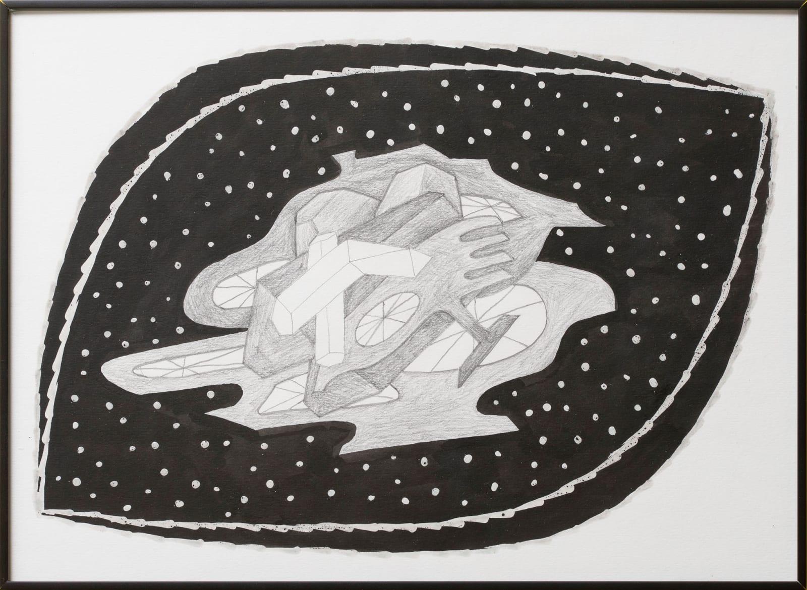 Anna Hulacova, Untitled, 2016, paper, graphite ink, charcoal, wax 31 x 43 x 2 cm