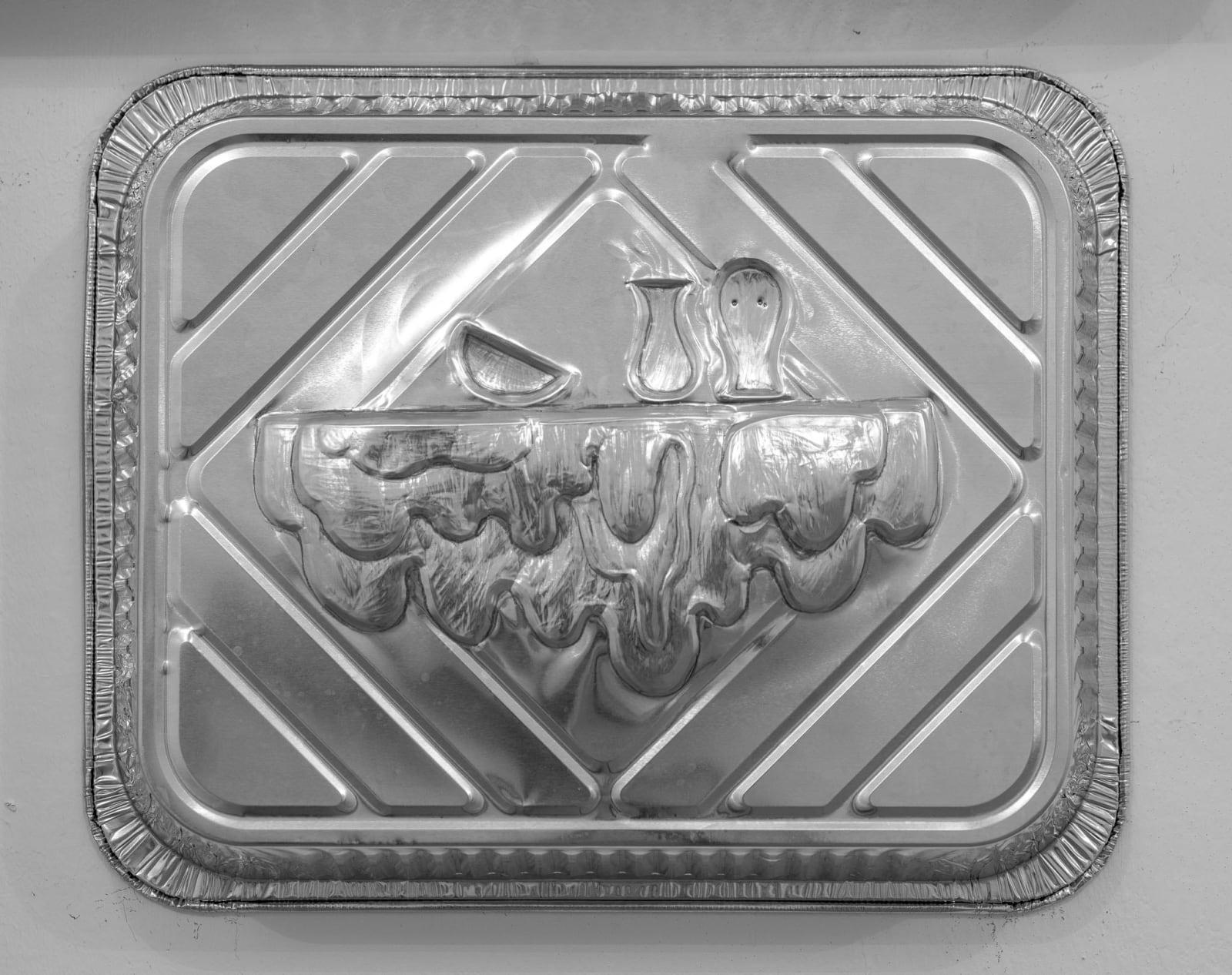 Anna Hulacova, Untitled, 2017, aluminium tray, cm 26 x 32 x 7