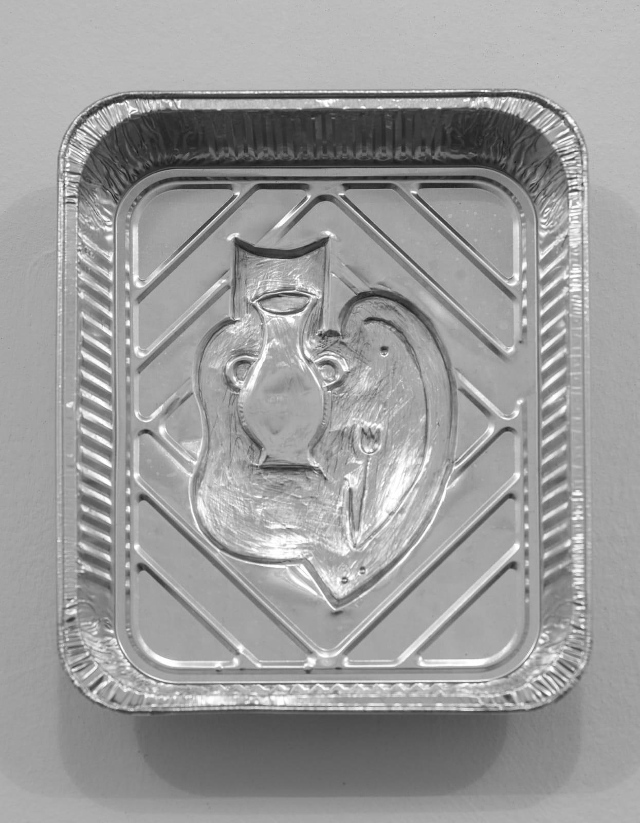 Anna Hulacova, Untitled, 2017, aluminium tray, cm 32 x 26 x 7