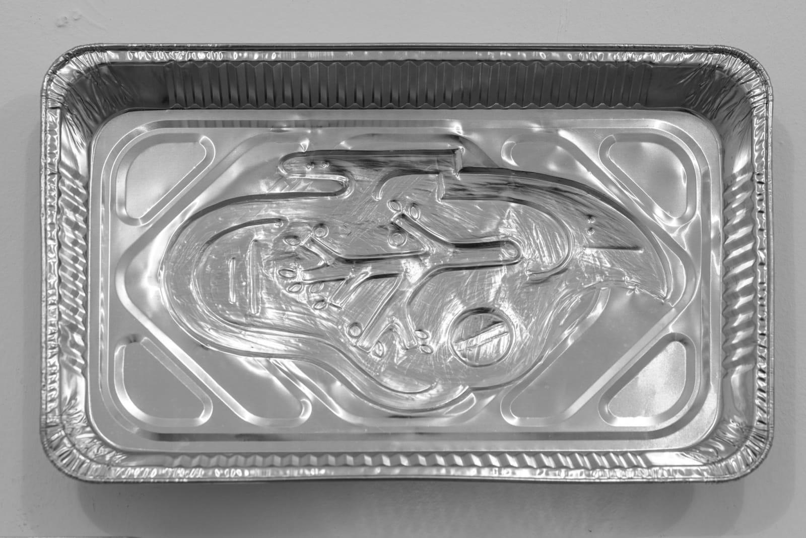 Anna Hulacova, Untitled, 2017, aluminium tray, cm 33 x 52 x 5,5