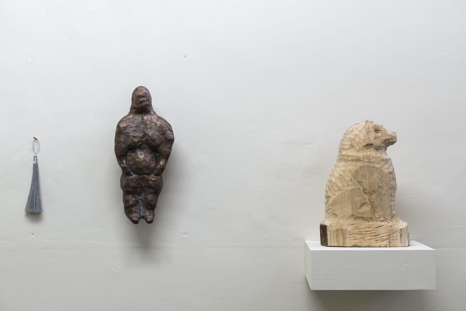 Evgeny Antufiev, Untitled, 2015, bronze sculpture cm 30 x 13 x 7, wooden sculpture cm 26 x 17 x 8, tassel cm 17