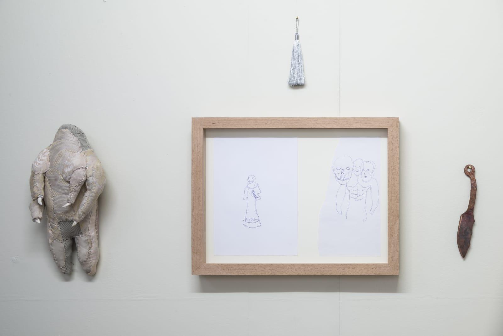 Evgeny Antufiev, Untitled, 2015, fabric sculpture and horn, cm 38 x 19 x 11, drawing cm 39 x 51.3 x 5, knife bronze cm 24 x 4, tassel cm 18