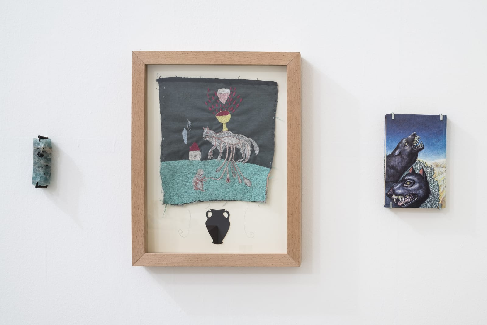 Evgeny Antufiev, Untitled, 2015, aquamarine cm 11.5 x 4 x 2, embroidery cm 64.5 x 36.5 x 5, book cm 20.5 x 13 x 2.5