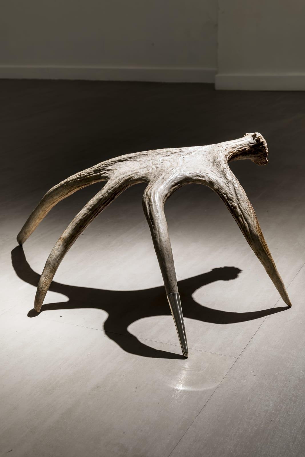 Giovanni Kronenberg L'antinomia di Capitan Blicero, 2016 Moose horn and silver thimble ca cm 50 x 57 x 21