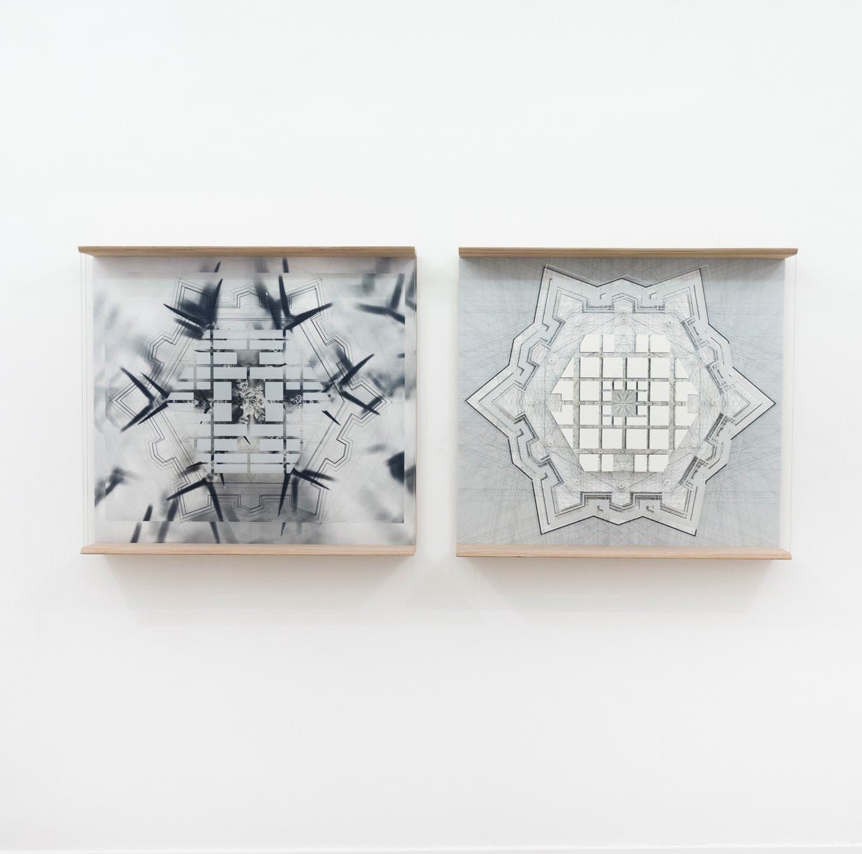 Michele Guido, robn_07. 05.14_27.08 _hexagon _study for ideal city _pietro cataneo _avola _1567/2018 (diptyc), 2018