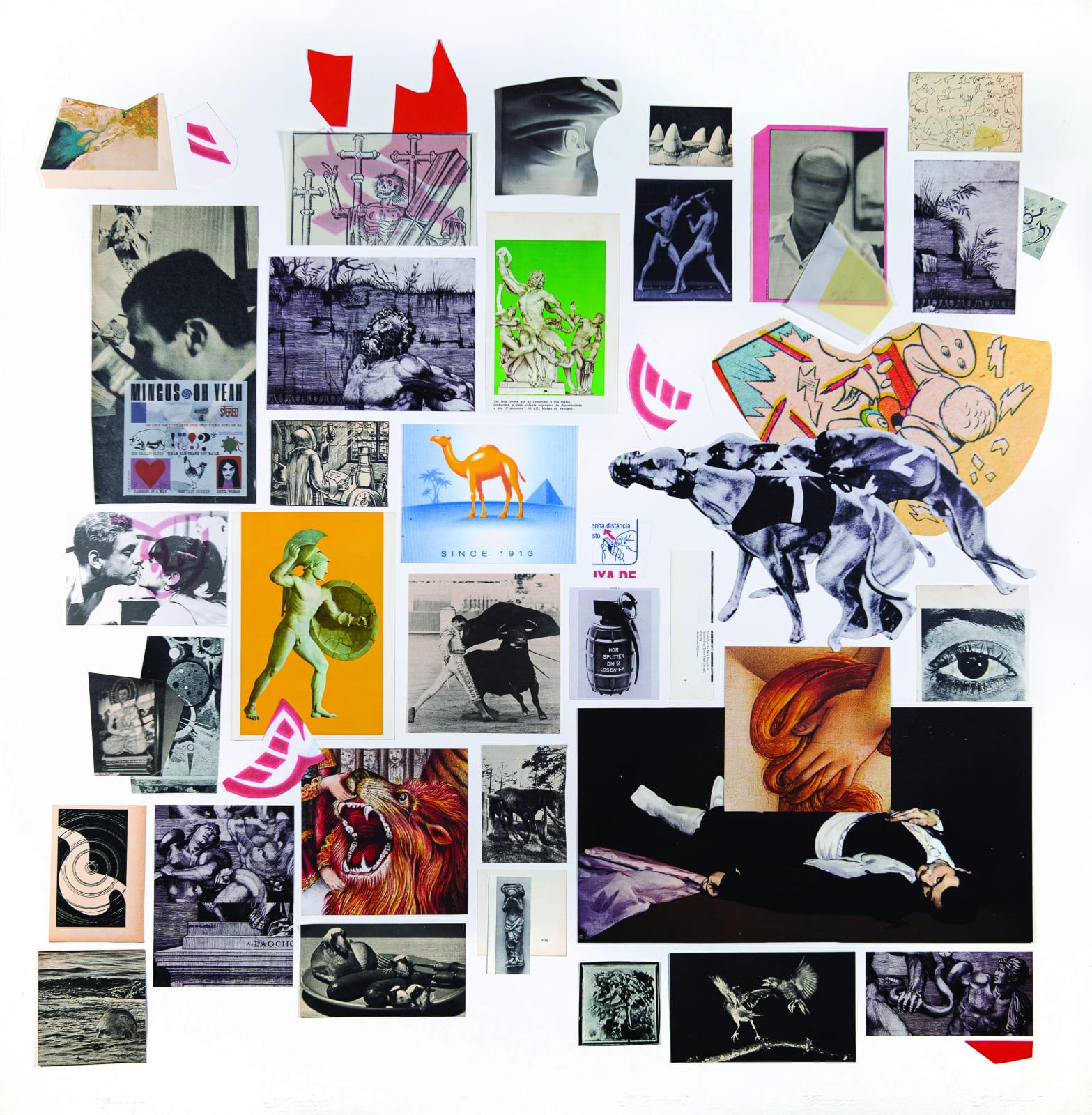 """André Bergamin """"É isso que você queria? (hieros gamos)"""" (2020) recortes de revista e ampliações impressas sobre papel 100 x 100 cm"""
