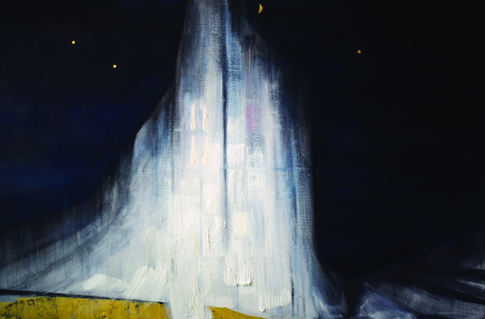 Evandro Angerami Montanha primordial Quietude. 2020. óleo, grafite e ouro 23k sobre linho 130x200cm
