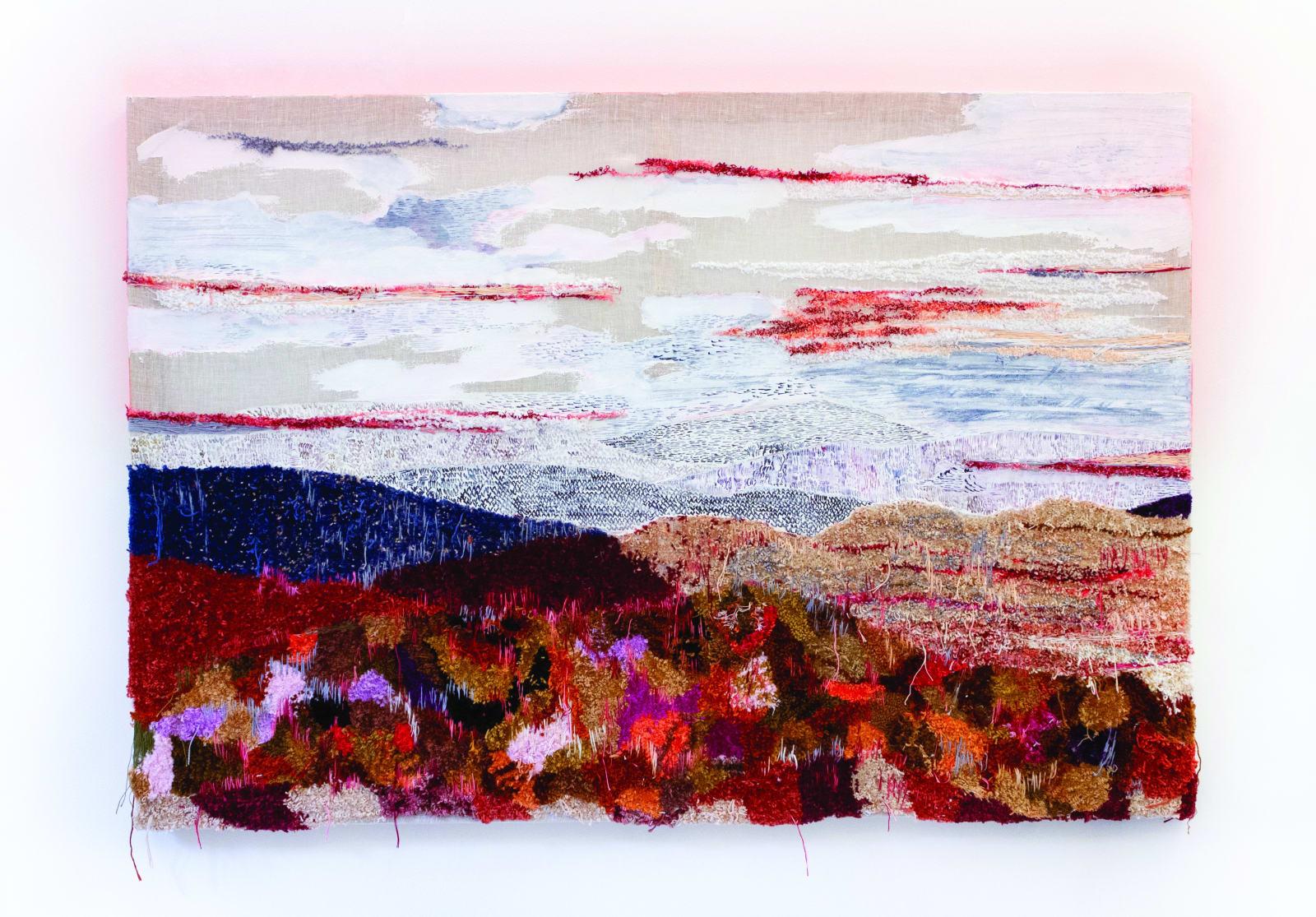 Laura Villarosa Serra (2020) linhas, resina e aquarela sobre linho e chassi de madeira 83 x 120 cm
