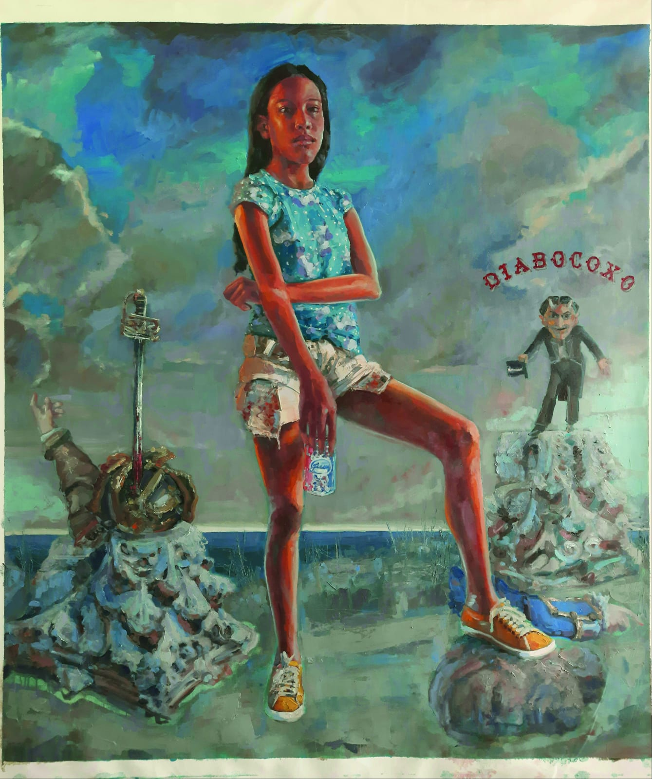 Thiago Fonseca Ana e cabeça de Anhanguera, para Luiz Gama e Angelo Agostini (2020) óleo sobre tela 155 x 136 cm