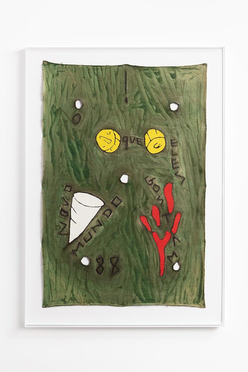 Leonilson O Que Eles Gostam, 1988 Tinta acrílica, tinta metálica e recorte sobre lona 98,5 x 66 cm