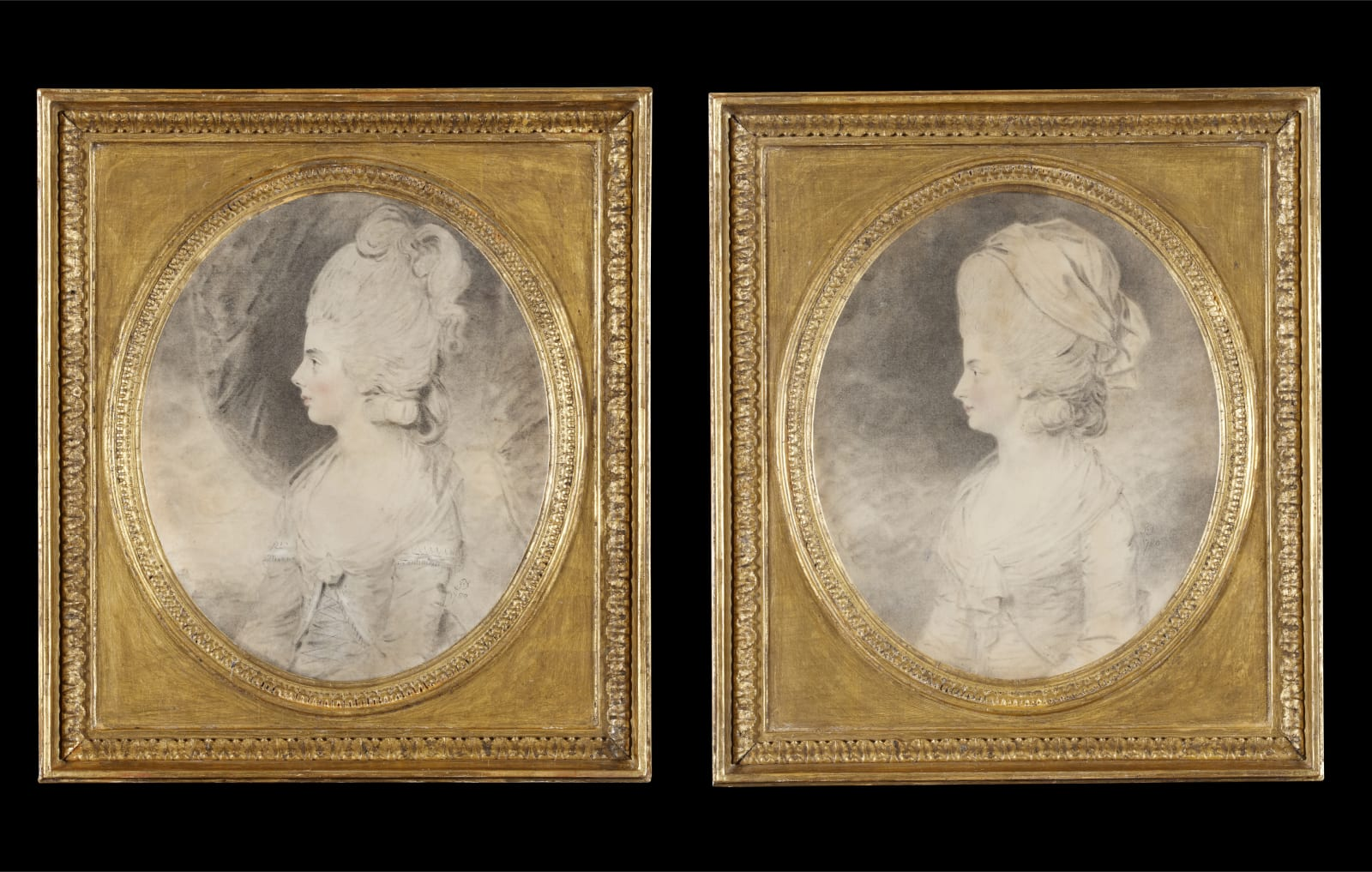 (Fig. 2) John Downman A pair of portraits of the Waldegrave sisters 1780