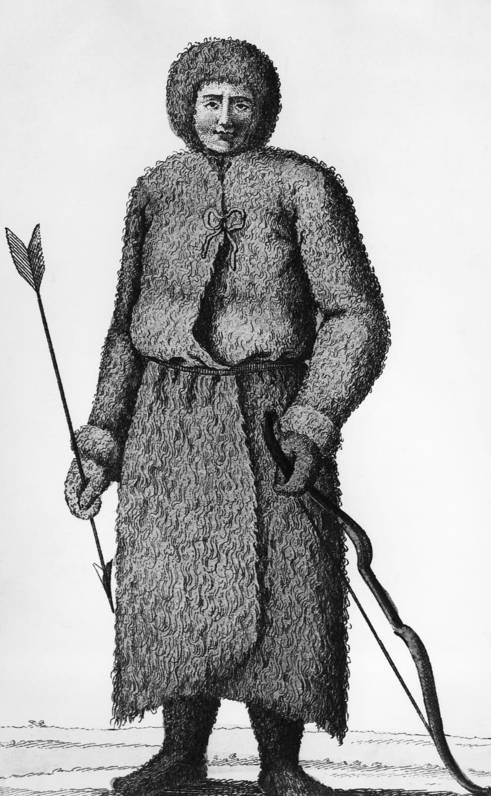 [Fig. 2] Inuk with a bow and arrow, Arctic, illustration from A chronological history of voyages into the Arctic Regions, by John Barrow, Milan, Sonzogno, 1820.