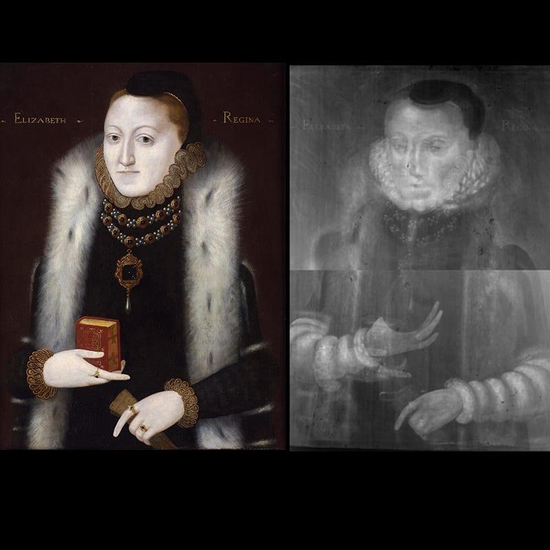[Fig. 6] Left: Unknown Artist, Queen Elizabeth I (1533-1603), 1558–1561. Right: X-ray of Unknown Artist, Queen Elizabeth I (1533-1603), 1558–1561.