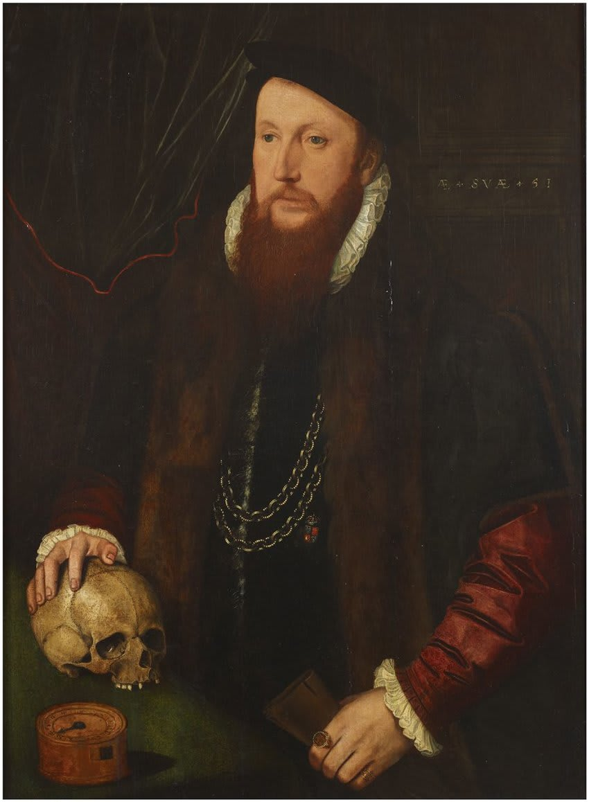 [Fig. 3] John Bettes the Elder (attrib.), William Ffytch with his Hand on a Skull, aged 51 (1550), Anglesey Abbey © National Trust.
