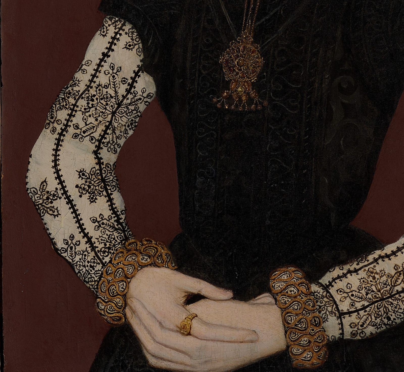 Fig. 2. Detail of shell gold | Master of the Countess of Warwick, Portrait of Mary Potter, Nee Tichborne, 1565.