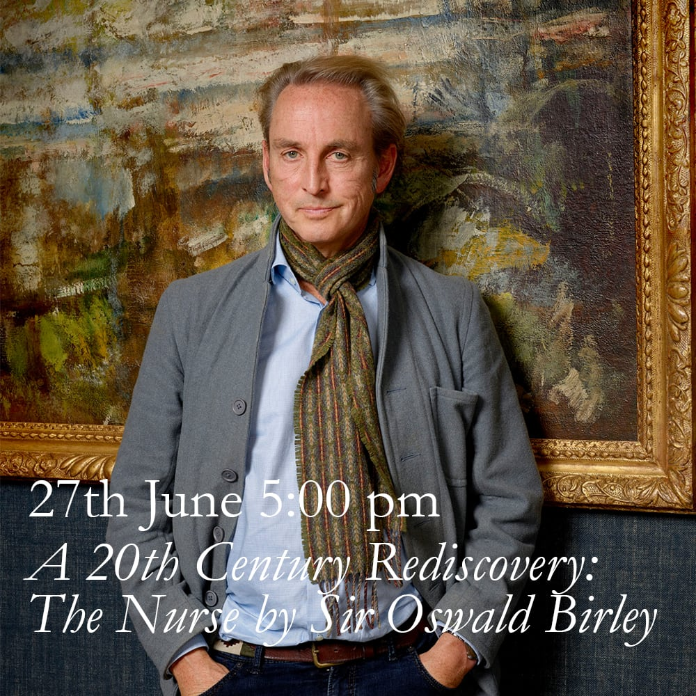 Hidden from view in the ownership of her descendants, Philip Mould will talk about the arrival from America of an exquisite, hitherto unknown portrait of an arresting 1920's nurse by society painter Sir Oswald Birley. Painted in return for medical services, this masterpiece by Birley combines his brilliance as a portraitist with the sublime lessons of three hundred years of great old master painting.