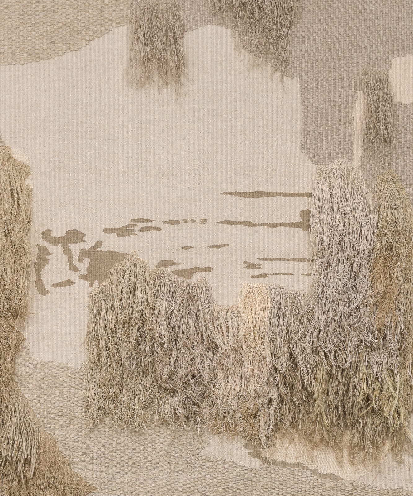 "<p>Andreas Eriksson, <em>Weissensee No. 12</em>, 2018 - 2019. Detail.</p><h3>""Territories of the finished tapestries might be distinguished by a particular knotted texture or the stands of long fibre sprouting from the surface. Andreas has described the tapestries as 'existential landscapes'. We might also see them as a conceptual extension of painting in which the picture migrates to the canvas itself."" </h3><p><strong>- Hettie Judah on Andreas Eriksson, 2020</strong></p>"