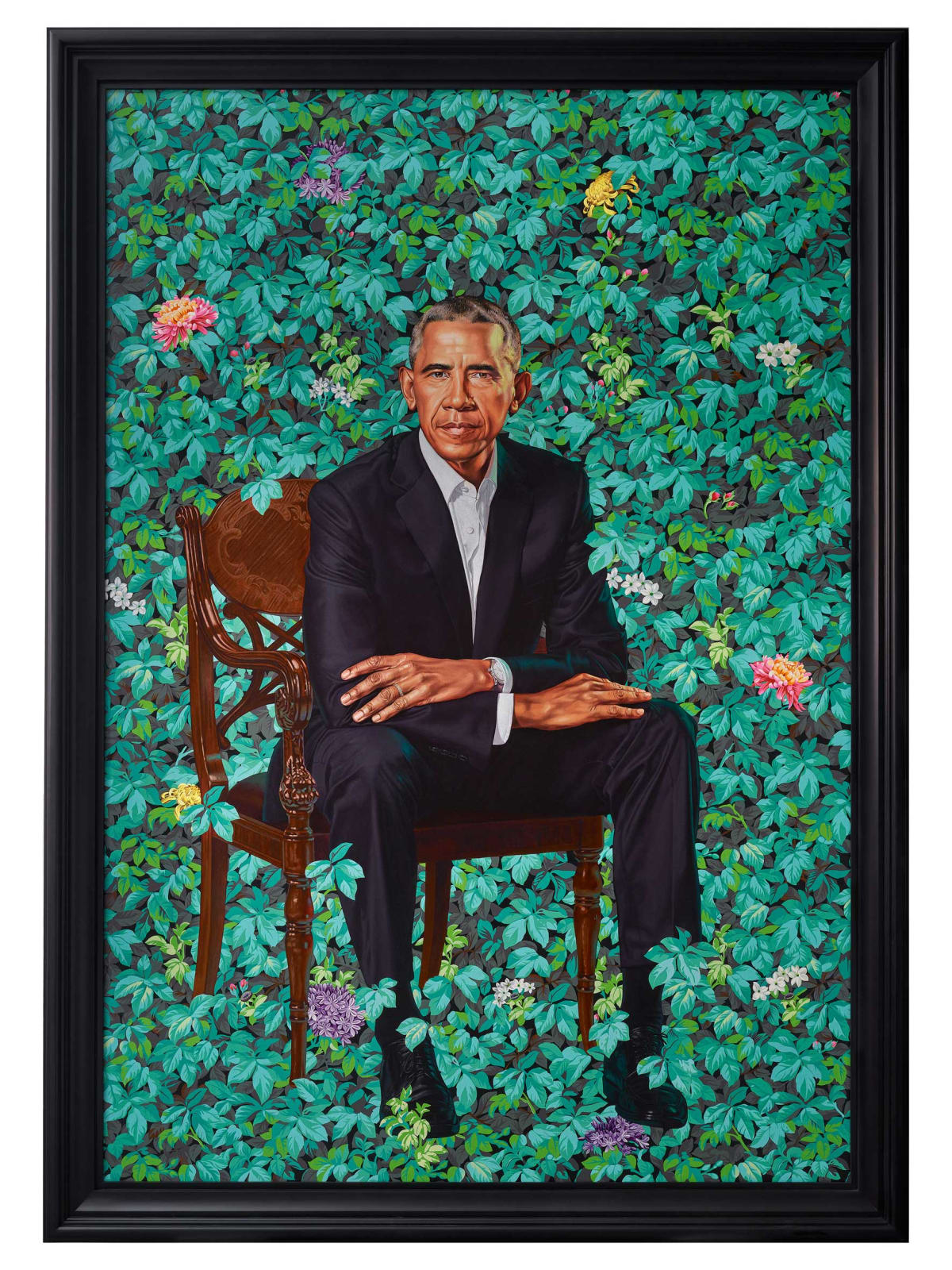 <p>Kehinde Wiley, 'Portrait of Barack Obama', 2018, Collection of the National Portrait Gallery, Washington DC</p>