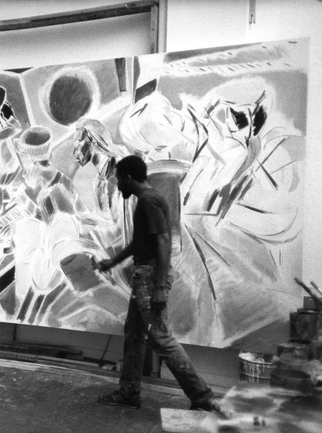 <p><span>Denzil Forrester in his Rome studio working on 'Dub' (1985).</span></p>