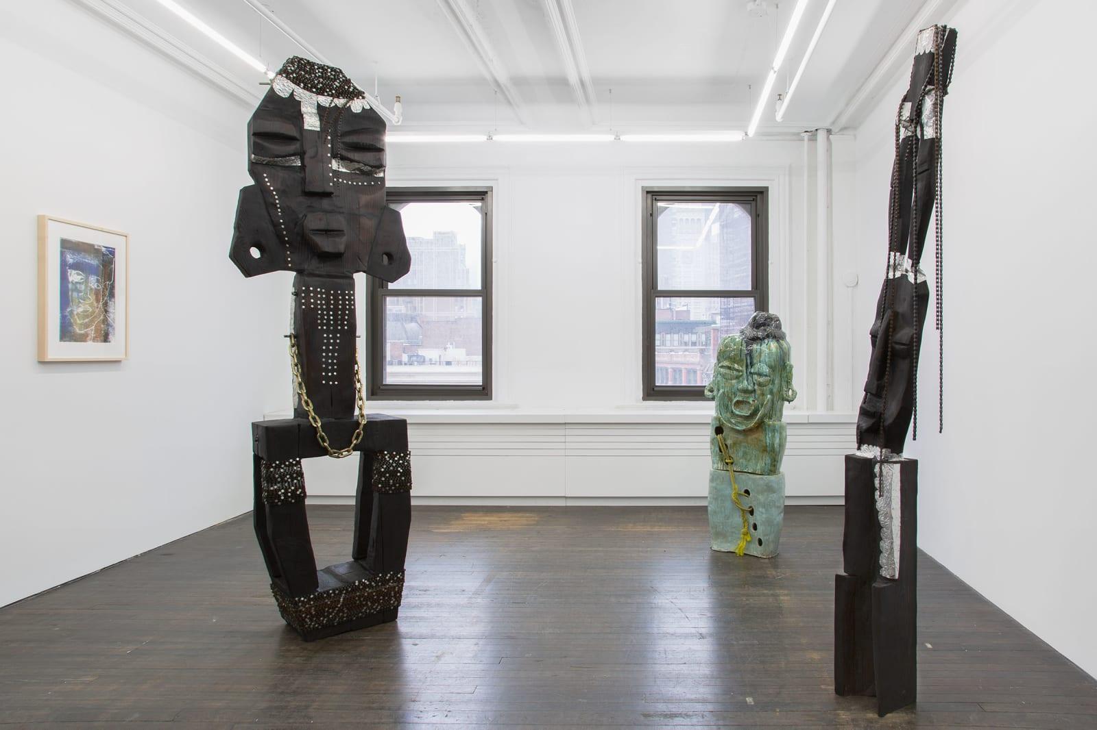 <p>Installation view: 'Ebika Bya ba Kuchu mu Buganda (Kuchu Clans of Buganda)', Gordon Robichaux, New York, NY (2020).<span>Photo by Gregory Carideo.</span></p>