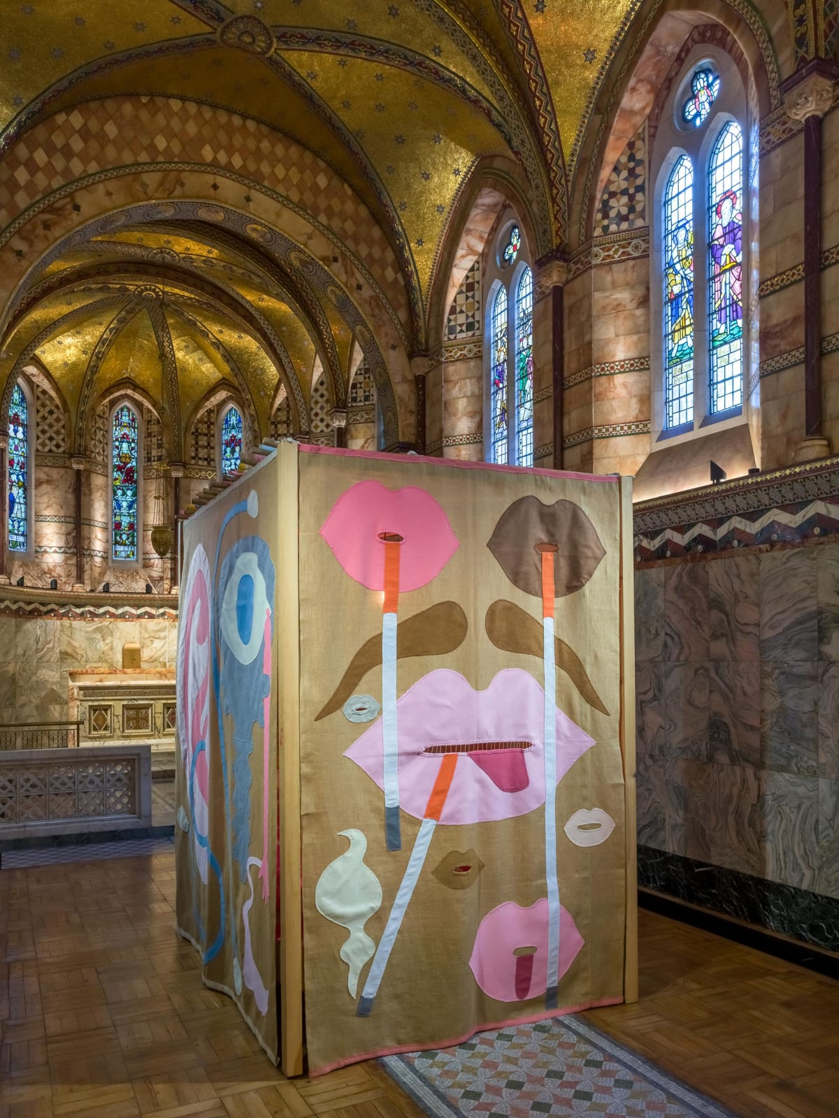 <p>Installation view: 'My biggest fear is that someone will crawl into it', Fitzrovia Chapel, London (2019). <span>Photo by Mark Blower.</span></p>