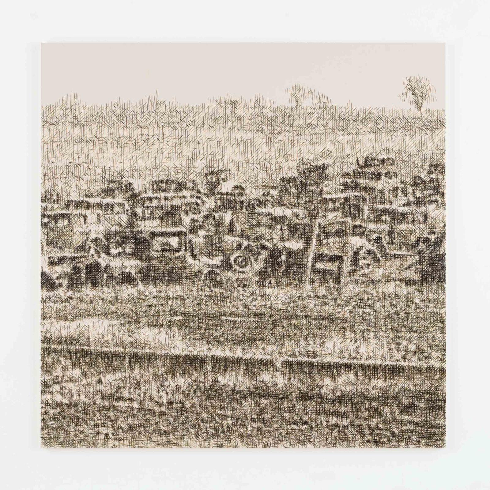 "<div class=""artist"">Wayne Gonzales,<em>Joe's Auto Graveyard, Pennsylvania, 1936 (Walker Evans)</em>(2015),<span>Acrylic on canvas.</span></div>"