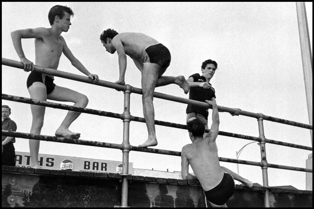 Brooklyn Gang (teenage boys in bathing suits near boardwalk, 1959