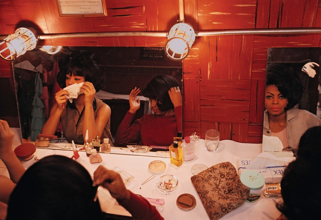 The Supremes (getting ready in dressing room mirror), 1965
