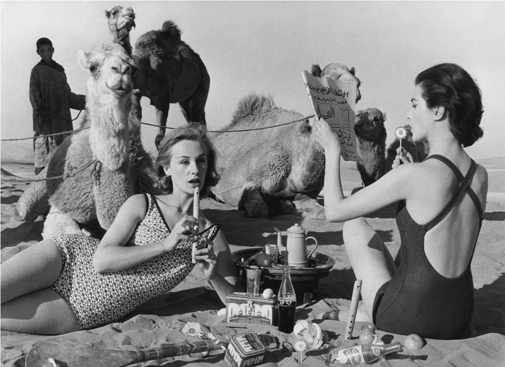 Tatiana + Mary Rose + Camels, Picnic, Morocco, 1958