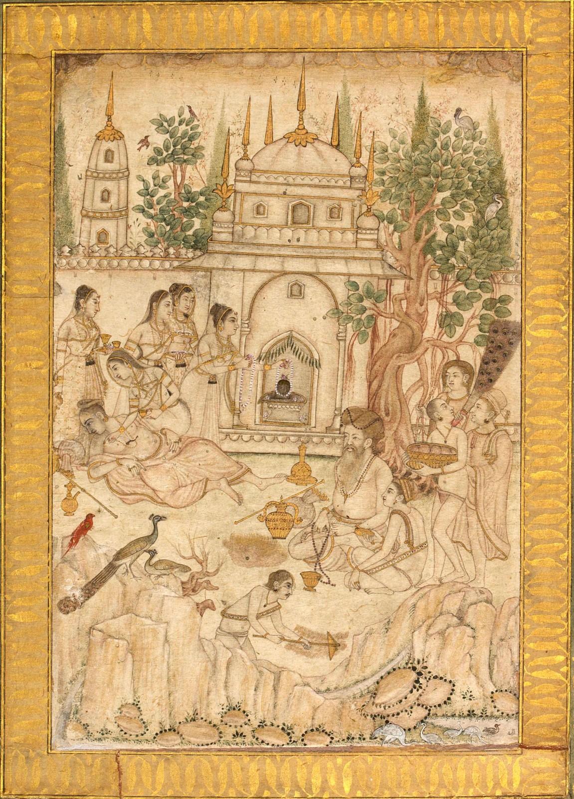 A Scene at a Shiva Temple, Mughal style in the Deccan, c. 1700