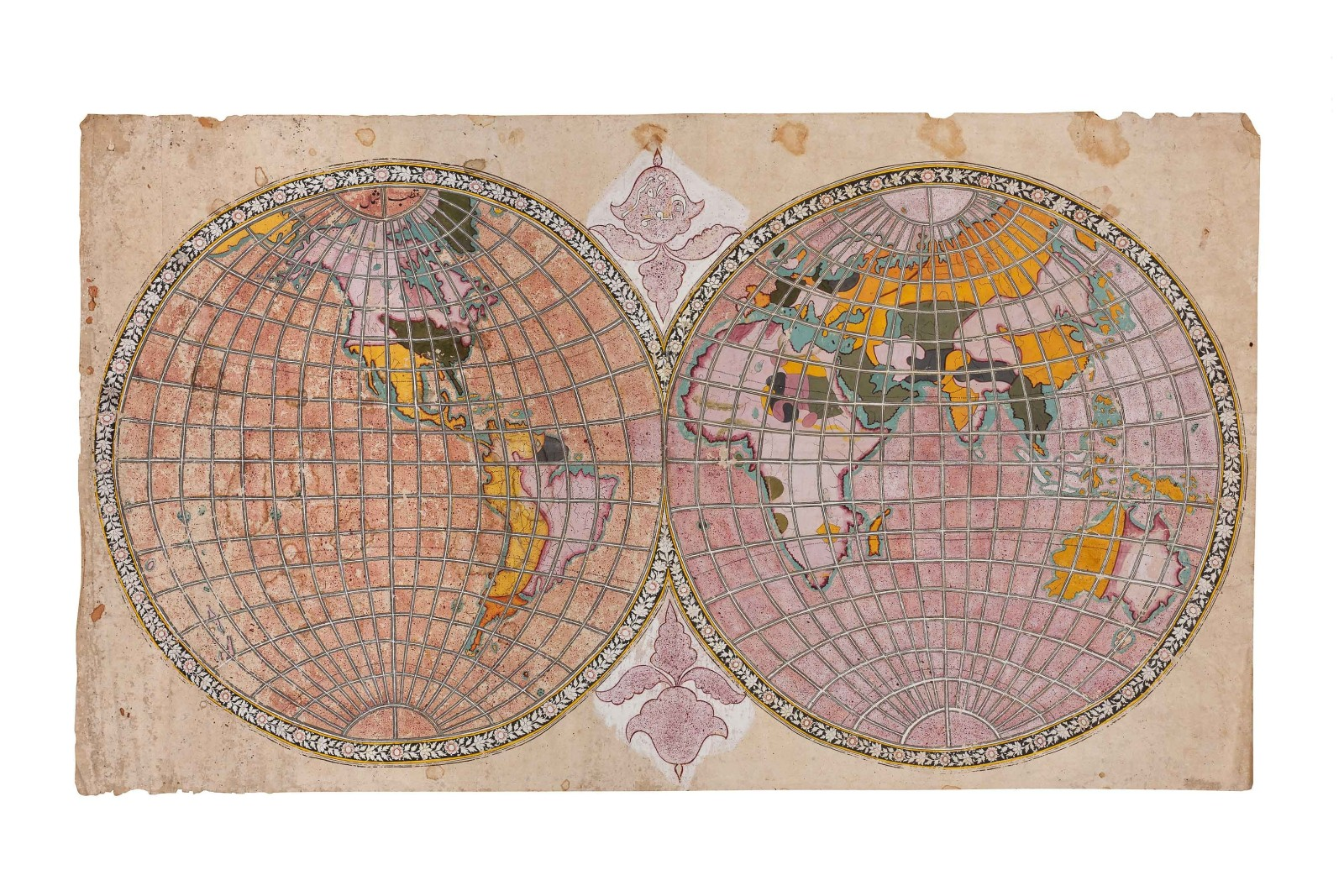 Map of the world in two hemispheres, Rajasthan, possibly Jaipur, c. 1808-1817