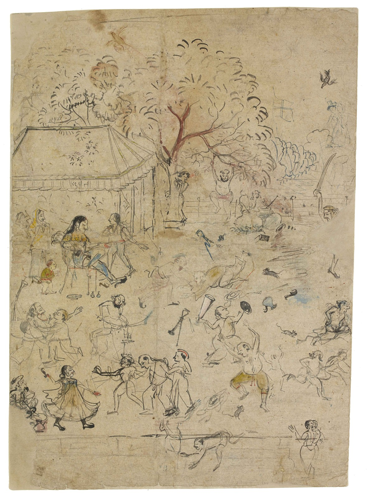 Mayhem caused by bhang and mice Rajasthan, Kota, c.1850