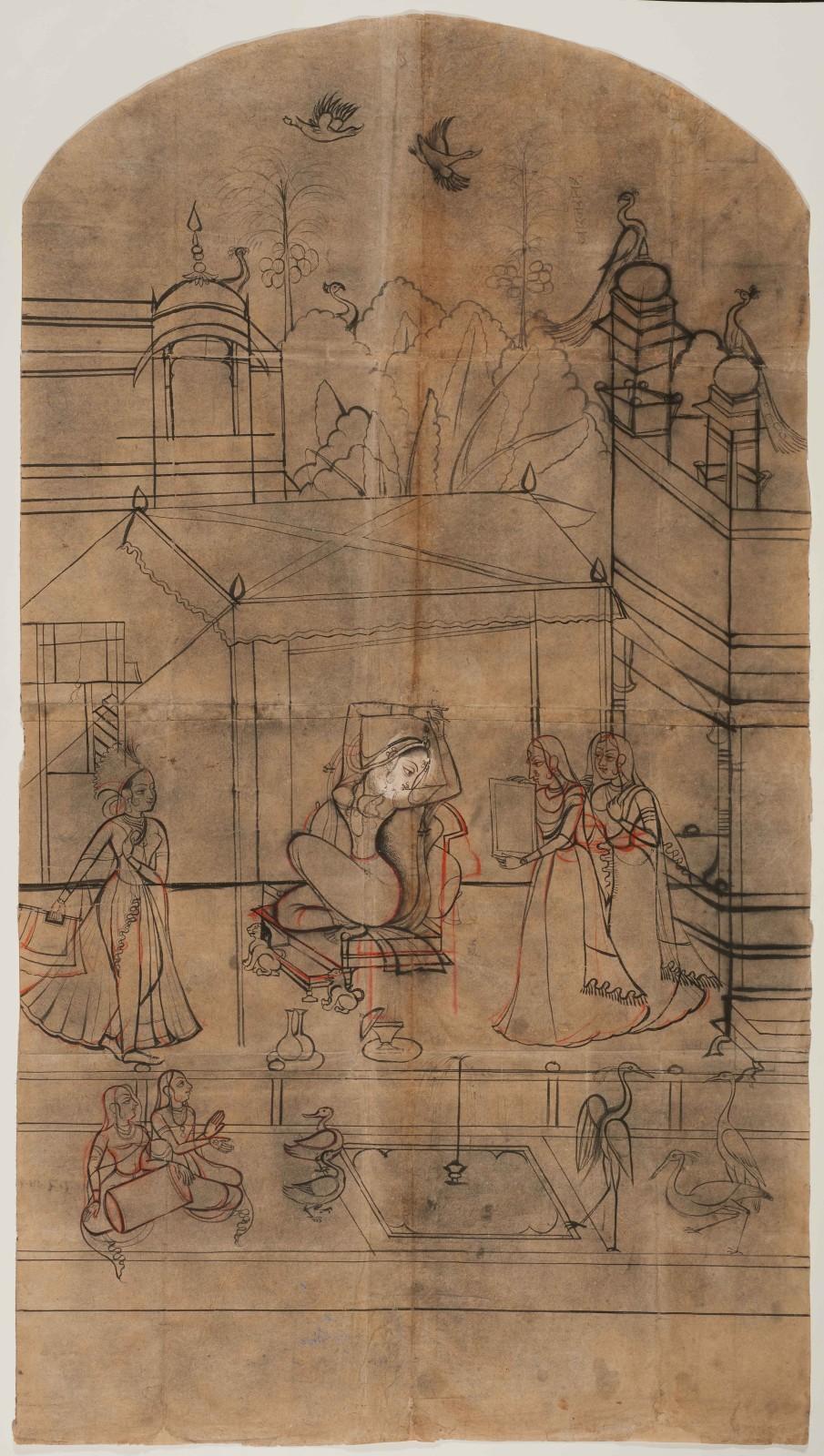 A large preparatory drawing for a wall painting depicting Deshvarati ragini, Rajasthan, Bundi, c. 1770-80