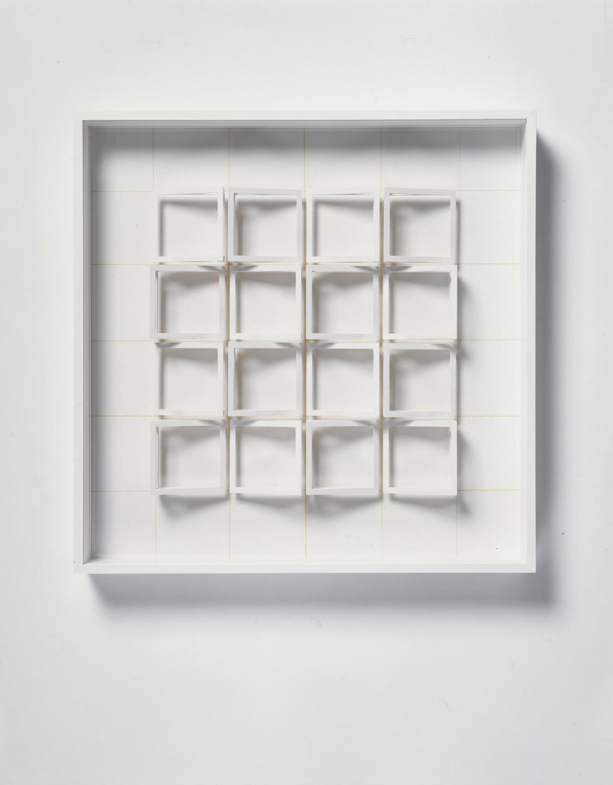 KLAUS STAUDT, Domus, 2004 Wood, acrylic paint, Plexiglas and coloured pencil 50 x 50 x 7 cm 19 ⅝ x 19 ⅝ x 2 ¾ inches Edition of 5
