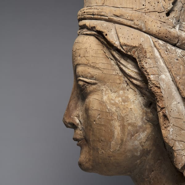 "<span class=""title""><em>A monumental crowned head of the Virgin</em>, c. 1280</span>"