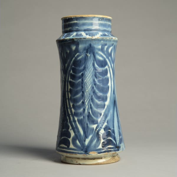 """<span class=""""title""""><em>A blue and white albarello with a design of hanging palmettes</em>, c. 1425 - 50</span>"""