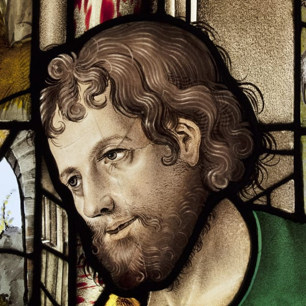 """<span class=""""artist""""><strong>Jean Chastellain (d. 1541/2)</strong></span>, <span class=""""title""""><em>A shepherd from a large window of the Nativity</em>, c. 1530</span>"""