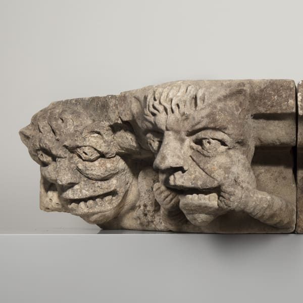 "<span class=""title""><em>Four monstrous corbel heads</em>, late 14th or early 15th century</span>"