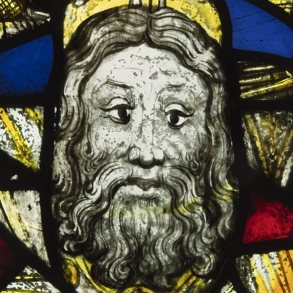 "<span class=""title""><em>The head of God the Father surrounded by decorated quarries</em>, c. 1400 - 25</span>"