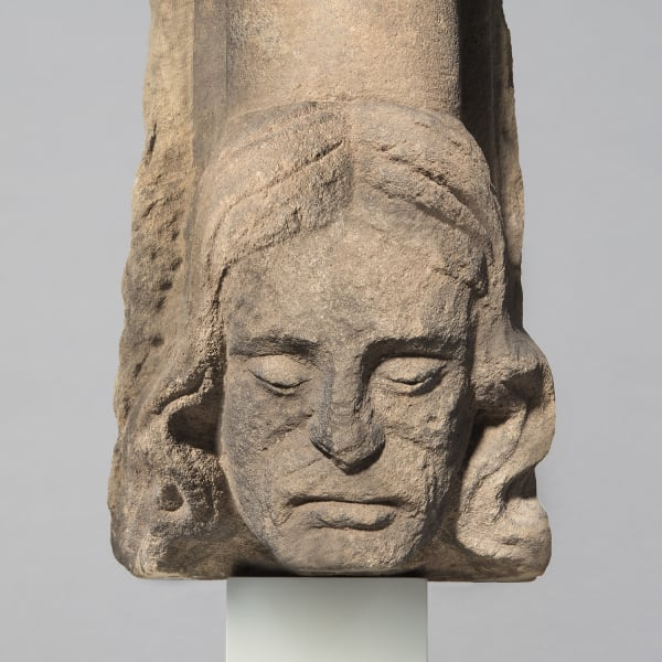 "<span class=""title""><em>A shaft support with the head of a man</em>, mid-14th century</span>"