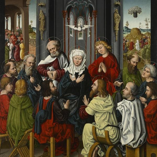 "<span class=""artist""><strong>Master of the Regensburg Hostienfrevel</strong></span>, <span class=""title""><em>Pentecost</em>, c. 1480</span>"