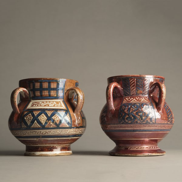 """<span class=""""title""""><em>Two important lustreware vases with pseudo-Kufic and geometric decoration from the Beit collection</em>, c. 1400 - 30</span>"""