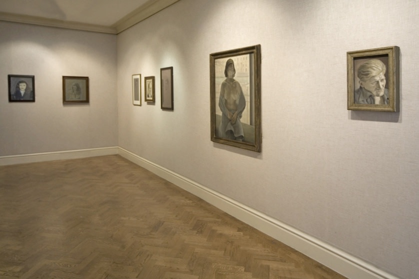 Left to right: Girl in a Dark Jacket (1947), Girl's Head (1946), Head of a Woman (1943–44), Portrait of a Man (1954), Head of a Poet (circa 1945), Girl in a Blanket (1952), Portrait of a Man (circa 1954)