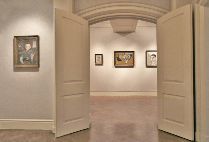 Left wall: ,The Village Boys (1942), Back Gallery: Gerald Wilde (1943), Dead Heron (1945), Man at Night (Self Portrait) (1947–48)