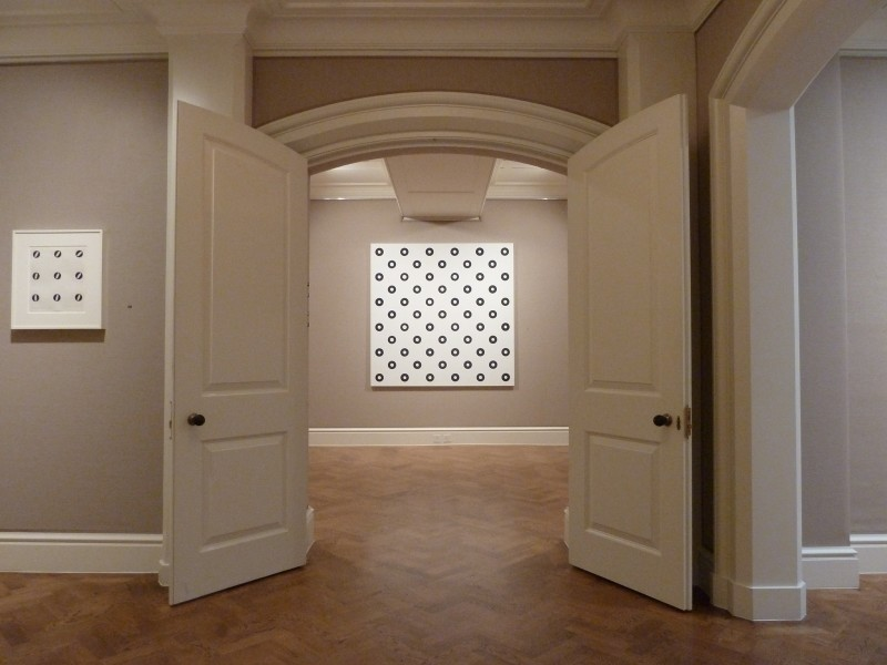Left wall: Untitled (Wide Spacing Slow Movement) (1964), Back Gallery: Dilated Centres (1963)