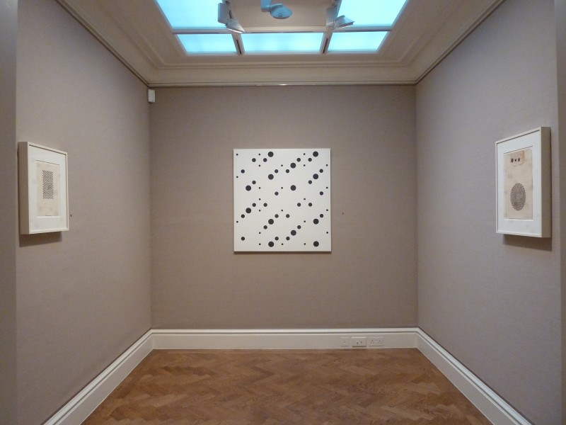 Middle Gallery (clockwise): Untitled [Study for Hidden Squares] (1961), White Discs 2 (1964) and Untitled [Study for Circular Movement] (1961)
