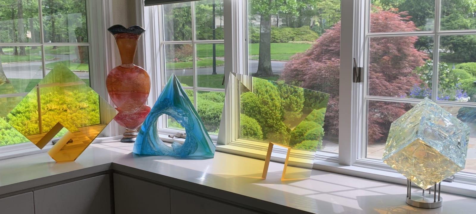 Glass sculptures in window