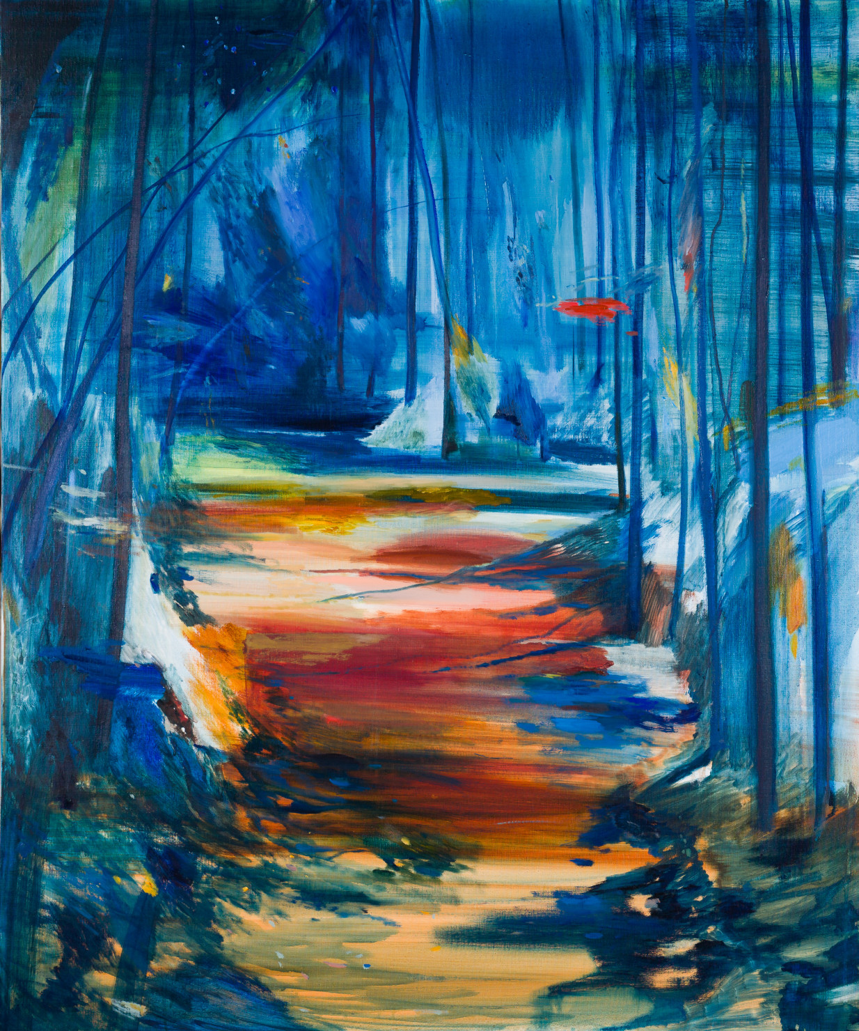 Calum McClure, Red Path, Blue Trees, 2019