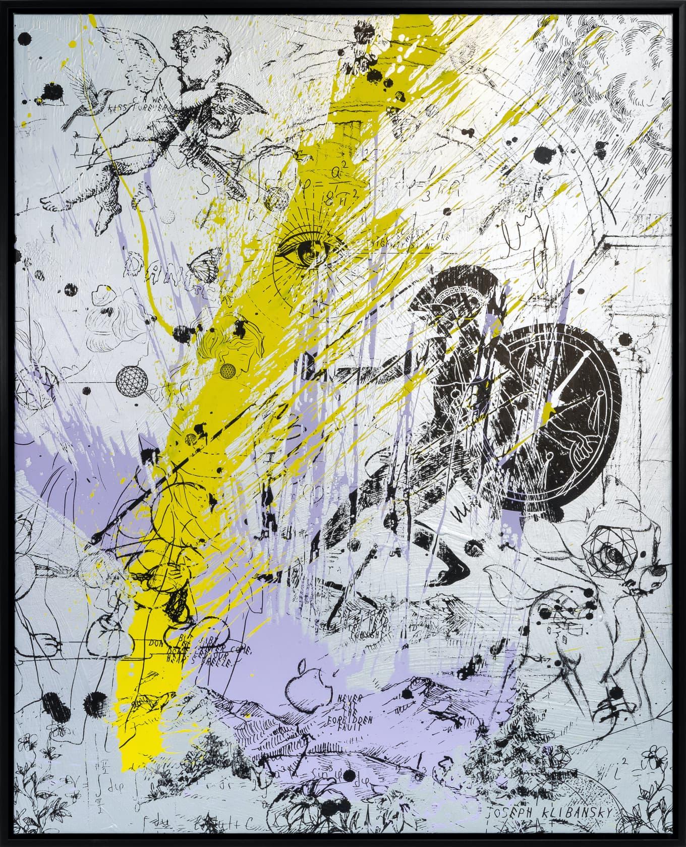 Joseph Klibansky, Into My Heart (Silver/Black, Lilac and Yellow Splash), 2020, 2021